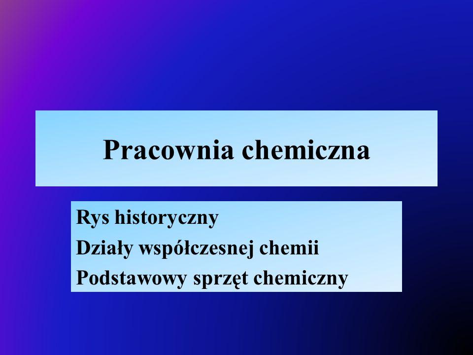 Pracownia chemiczna Rys historyczny Działy współczesnej chemii Podstawowy sprzęt chemiczny