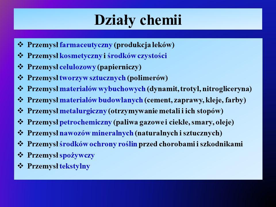 Działy chemii  Przemysł farmaceutyczny (produkcja leków)  Przemysł kosmetyczny i środków czystości  Przemysł celulozowy (papierniczy)  Przemysł tw