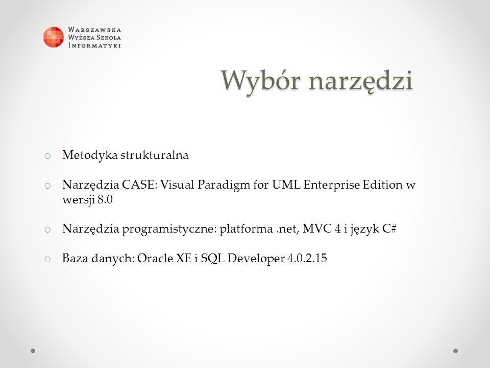 Wybór narzędzi o Metodyka strukturalna o Narzędzia CASE: Visual Paradigm for UML Enterprise Edition w wersji 8.0 o Narzędzia programistyczne: platforma.net, MVC 4 i język C# o Baza danych: Oracle XE i SQL Developer 4.0.2.15