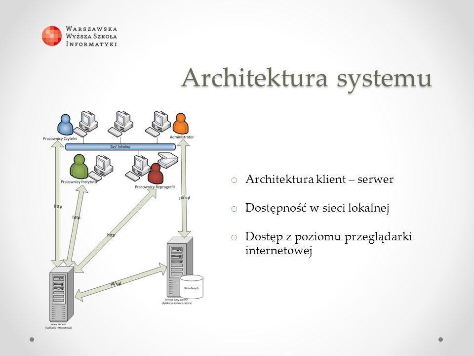 Architektura systemu o Architektura klient – serwer o Dostępność w sieci lokalnej o Dostęp z poziomu przeglądarki internetowej