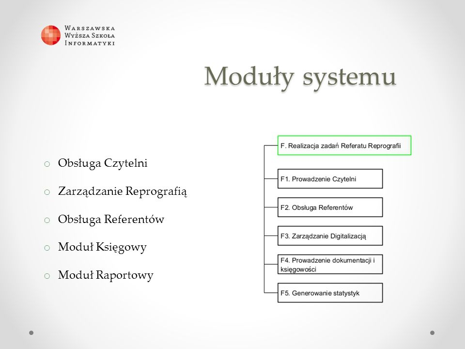 Moduły systemu o Obsługa Czytelni o Zarządzanie Reprografią o Obsługa Referentów o Moduł Księgowy o Moduł Raportowy
