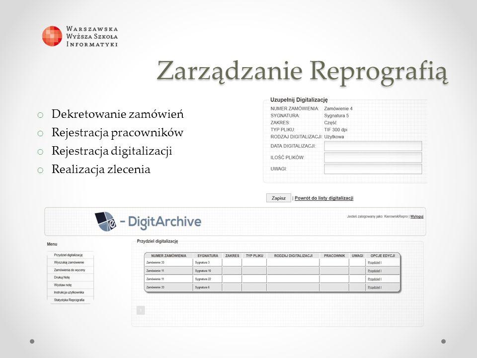o Dekretowanie zamówień o Rejestracja pracowników o Rejestracja digitalizacji o Realizacja zlecenia Zarządzanie Reprografią