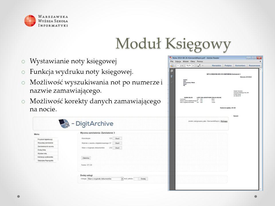 Moduł Księgowy o Wystawianie noty księgowej o Funkcja wydruku noty księgowej.