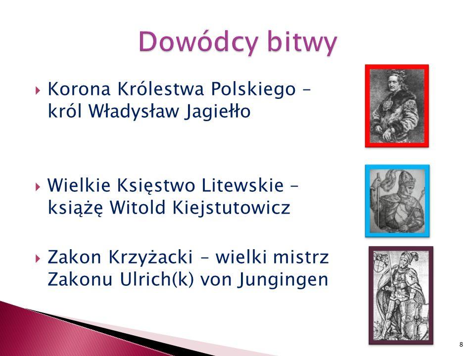  Korona Królestwa Polskiego – król Władysław Jagiełło  Wielkie Księstwo Litewskie – książę Witold Kiejstutowicz  Zakon Krzyżacki – wielki mistrz Zakonu Ulrich(k) von Jungingen 8