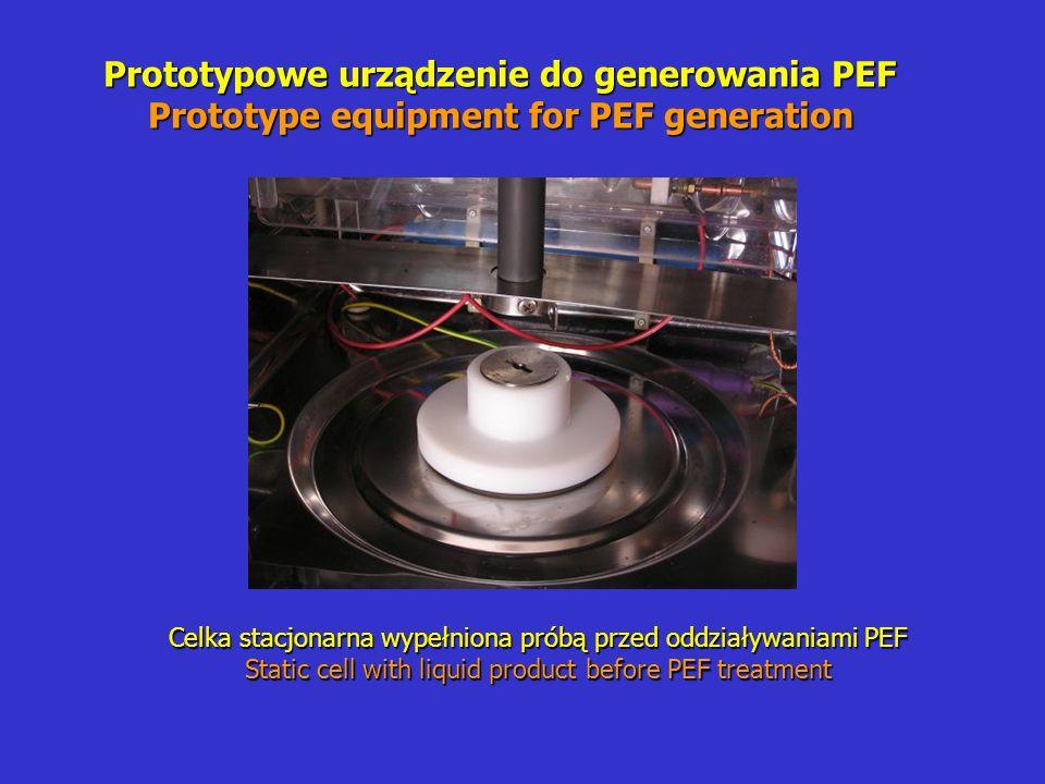 Prototypowe urządzenie do generowania PEF Prototype equipment for PEF generation Celka stacjonarna wypełniona próbą przed oddziaływaniami PEF Static cell with liquid product before PEF treatment