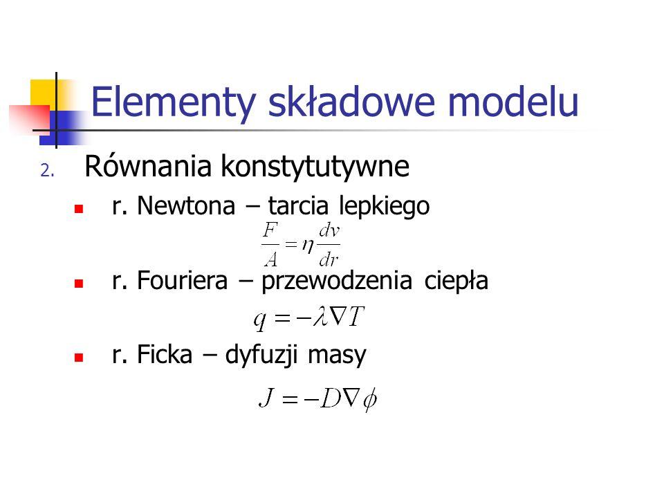 Elementy składowe modelu 2. Równania konstytutywne r. Newtona – tarcia lepkiego r. Fouriera – przewodzenia ciepła r. Ficka – dyfuzji masy