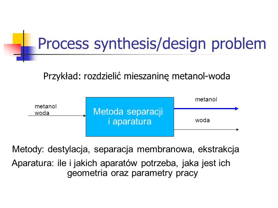Process synthesis/design problem Metoda separacji i aparatura metanol woda metanol woda Metody: destylacja, separacja membranowa, ekstrakcja Aparatura: ile i jakich aparatów potrzeba, jaka jest ich geometria oraz parametry pracy Przykład: rozdzielić mieszaninę metanol-woda