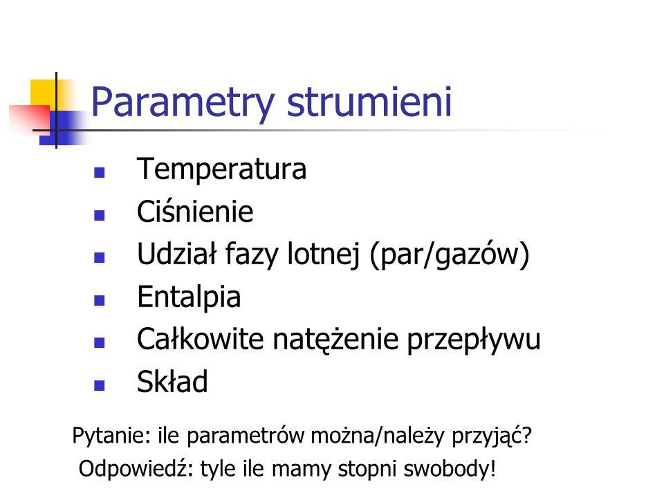 Parametry strumieni Temperatura Ciśnienie Udział fazy lotnej (par/gazów) Entalpia Całkowite natężenie przepływu Skład Pytanie: ile parametrów można/należy przyjąć.