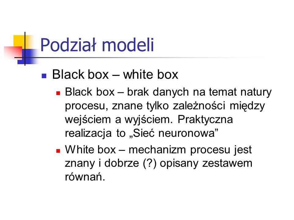 Podział modeli Black box – white box Black box – brak danych na temat natury procesu, znane tylko zależności między wejściem a wyjściem.