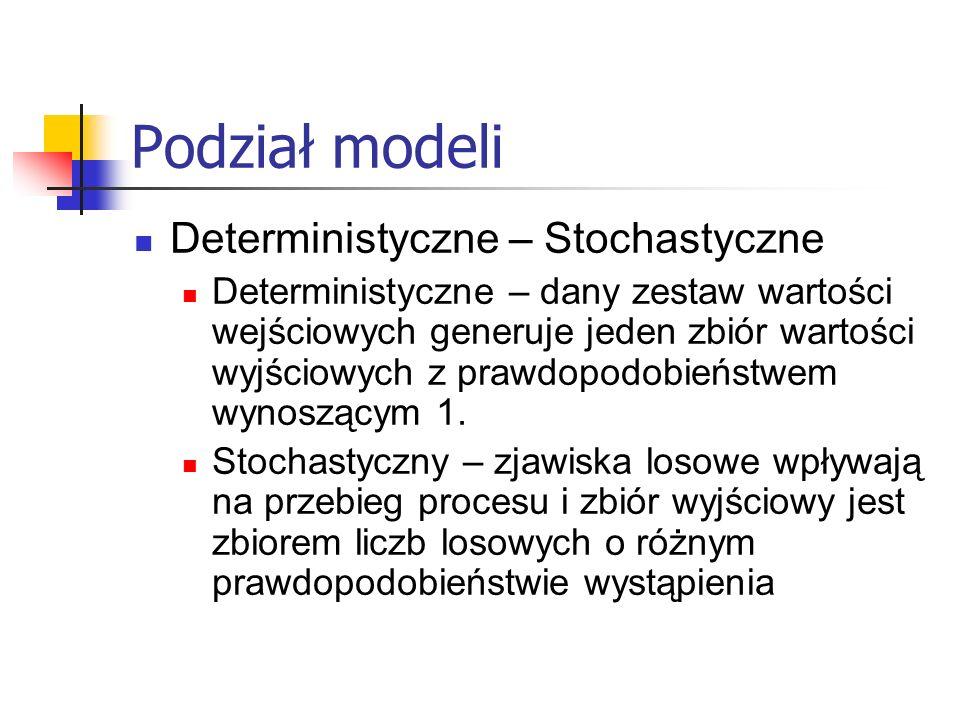Podział modeli Deterministyczne – Stochastyczne Deterministyczne – dany zestaw wartości wejściowych generuje jeden zbiór wartości wyjściowych z prawdopodobieństwem wynoszącym 1.