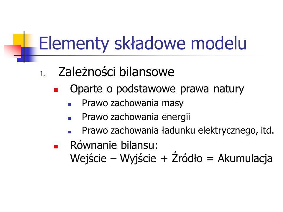 Elementy składowe modelu 1. Zależności bilansowe Oparte o podstawowe prawa natury Prawo zachowania masy Prawo zachowania energii Prawo zachowania ładu