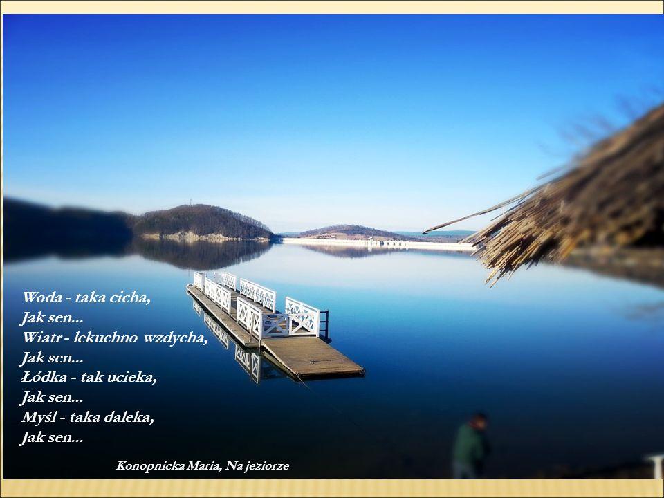 Woda - taka cicha, Jak sen... Wiatr - lekuchno wzdycha, Jak sen... Łódka - tak ucieka, Jak sen... Myśl - taka daleka, Jak sen... Konopnicka Maria, Na