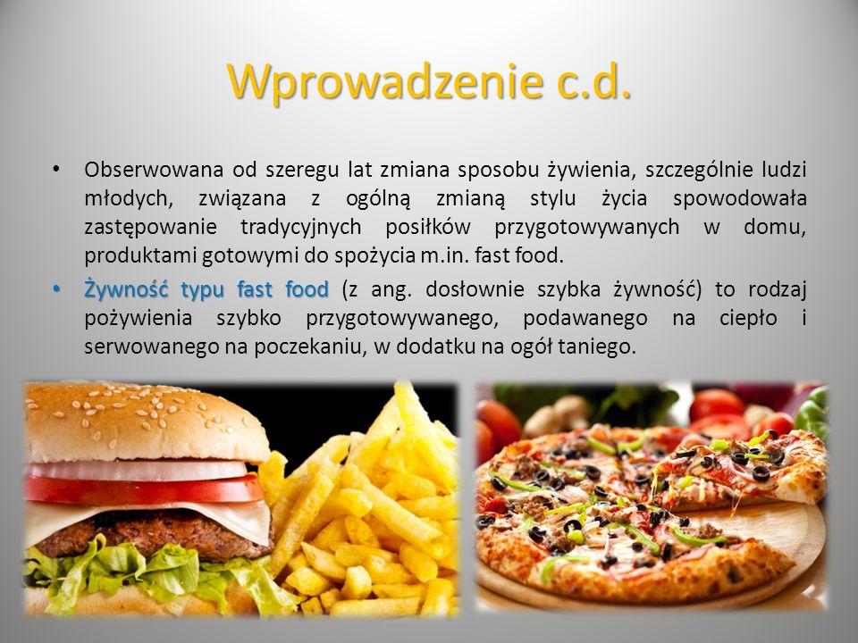 Rodzaje posiłków typu fast food Typowe przykłady potraw określanych jako fast food: Burgery (np.