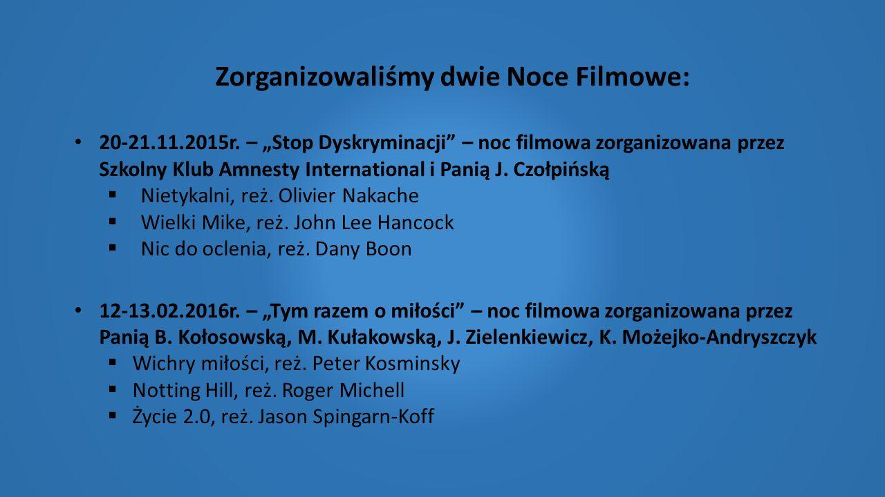 """Zorganizowaliśmy dwie Noce Filmowe: 20-21.11.2015r. – """"Stop Dyskryminacji"""" – noc filmowa zorganizowana przez Szkolny Klub Amnesty International i Pani"""