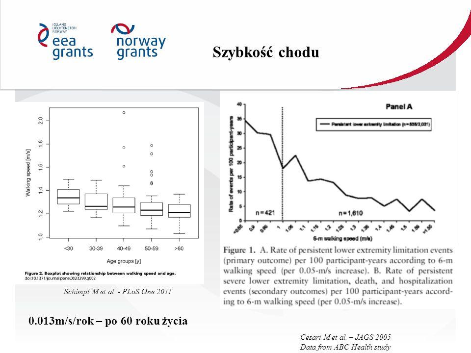Schimpl M et al - PLoS One 2011 Cesari M et al. – JAGS 2005 Data from ABC Health study 0.013m/s/rok – po 60 roku życia Szybkość chodu