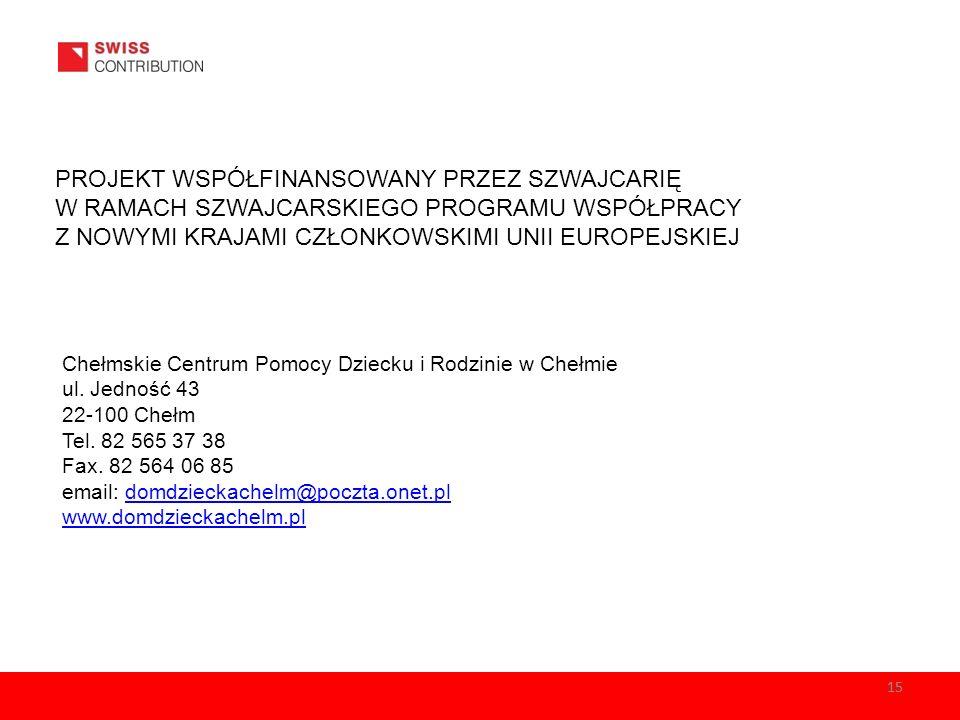PROJEKT WSPÓŁFINANSOWANY PRZEZ SZWAJCARIĘ W RAMACH SZWAJCARSKIEGO PROGRAMU WSPÓŁPRACY Z NOWYMI KRAJAMI CZŁONKOWSKIMI UNII EUROPEJSKIEJ Chełmskie Centr