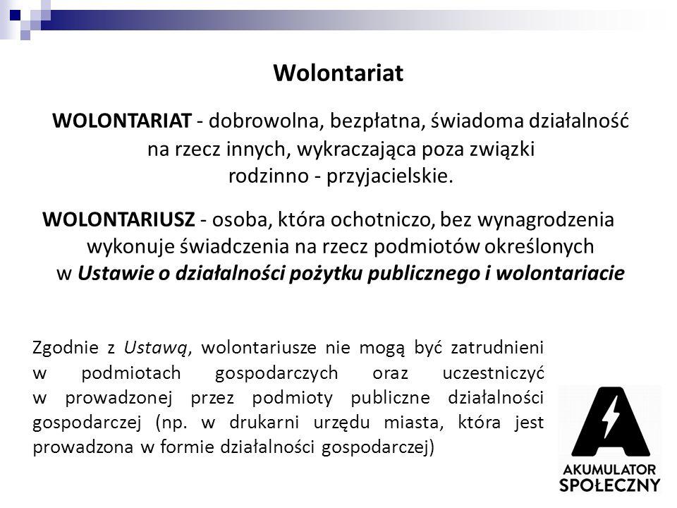 Wolontariat WOLONTARIAT - dobrowolna, bezpłatna, świadoma działalność na rzecz innych, wykraczająca poza związki rodzinno - przyjacielskie. WOLONTARIU