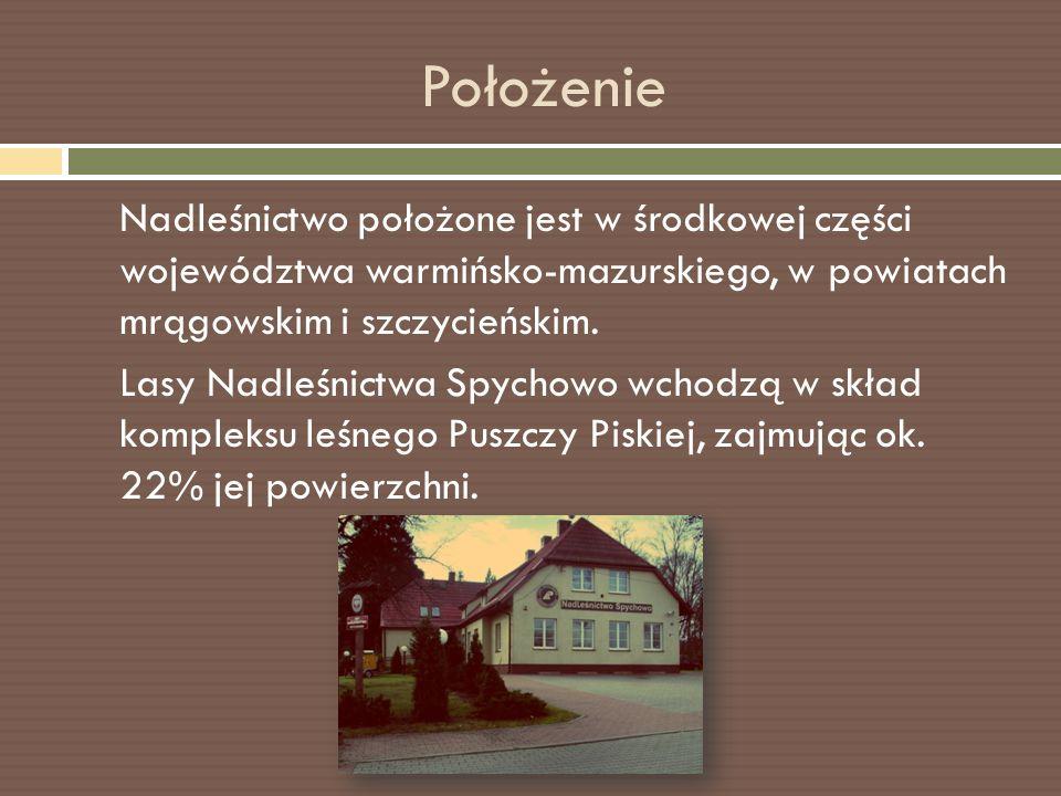 Położenie Nadleśnictwo położone jest w środkowej części województwa warmińsko-mazurskiego, w powiatach mrągowskim i szczycieńskim.