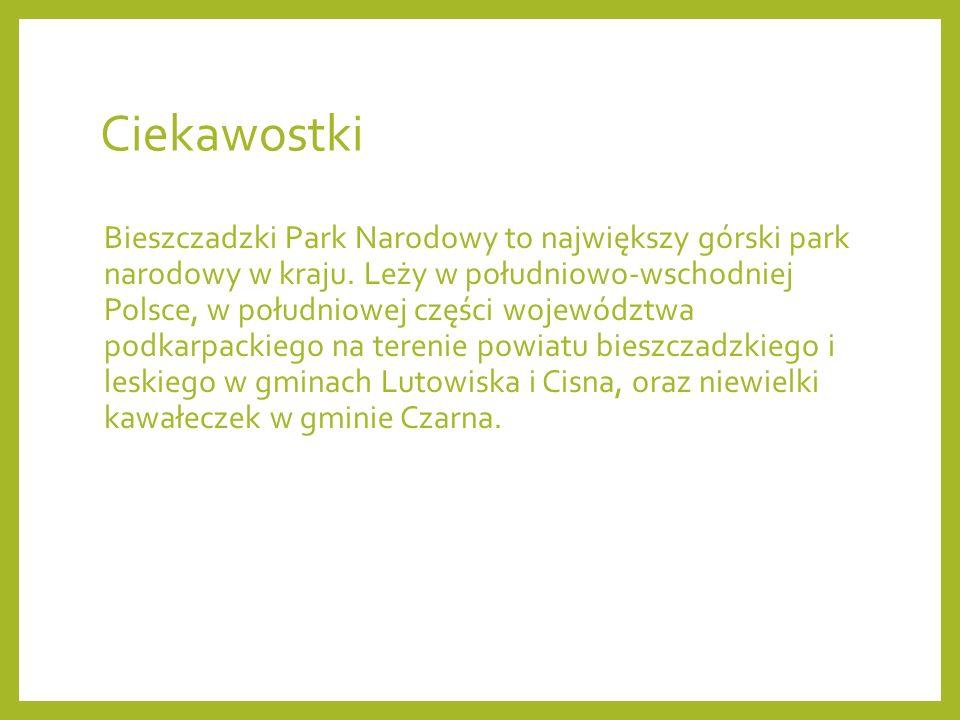 Ciekawostki Bieszczadzki Park Narodowy to największy górski park narodowy w kraju. Leży w południowo-wschodniej Polsce, w południowej części województ