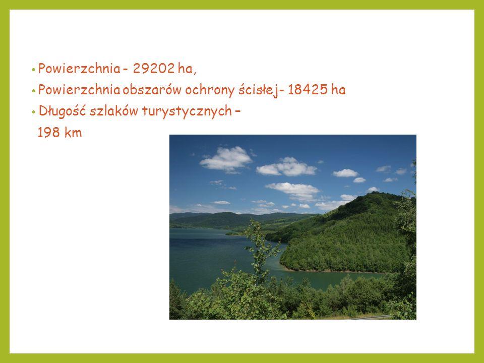Powierzchnia - 29202 ha, Powierzchnia obszarów ochrony ścisłej- 18425 ha Długość szlaków turystycznych – 198 km