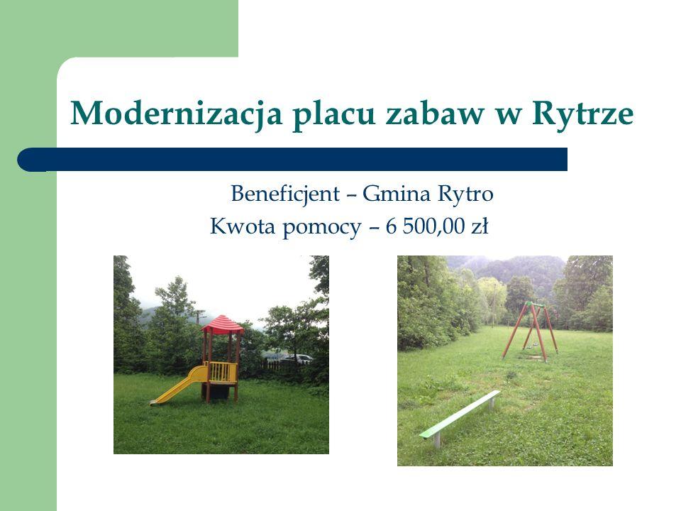 Modernizacja placu zabaw w Rytrze.Beneficjent – Gmina Rytro Kwota pomocy – 6 500,00 zł