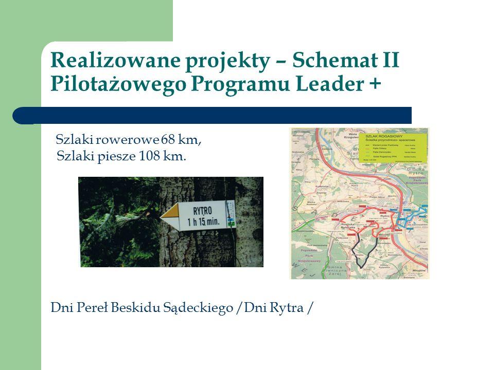 Realizowane projekty – Schemat II Pilotażowego Programu Leader + Szlaki rowerowe 68 km, Szlaki piesze 108 km.
