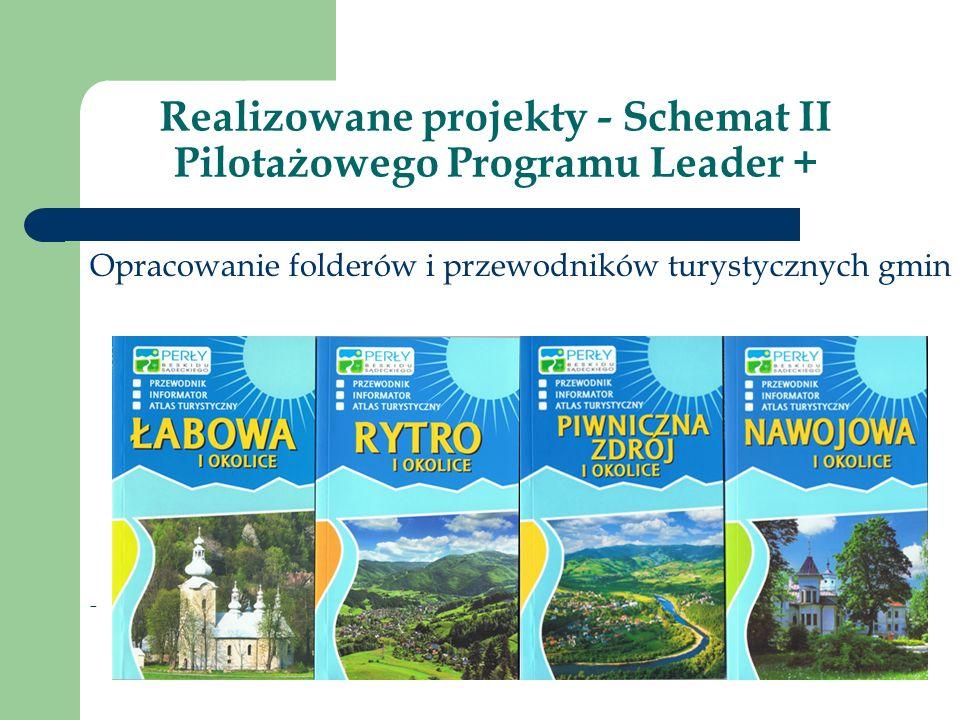 Realizowane projekty - Schemat II Pilotażowego Programu Leader + Opracowanie folderów i przewodników turystycznych gmin -