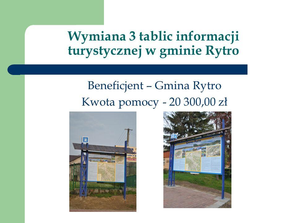 Wymiana 3 tablic informacji turystycznej w gminie Rytro Beneficjent – Gmina Rytro Kwota pomocy - 20 300,00 zł