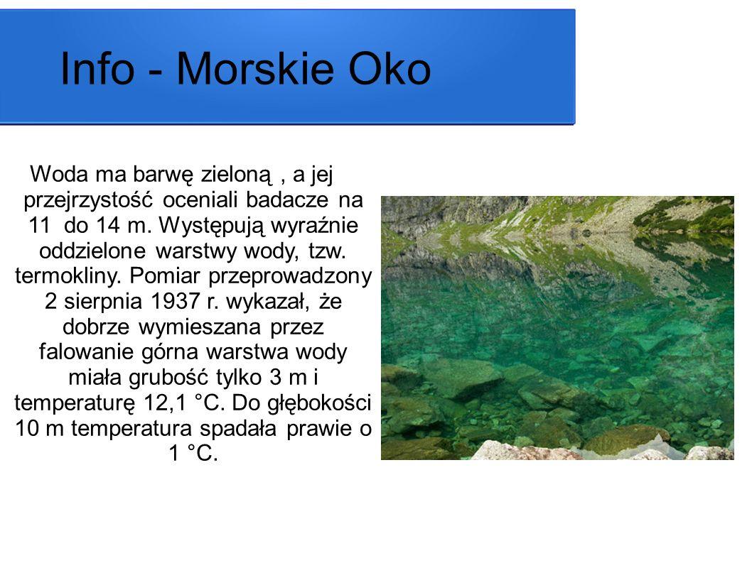 Woda ma barwę zieloną, a jej przejrzystość oceniali badacze na 11 do 14 m. Występują wyraźnie oddzielone warstwy wody, tzw. termokliny. Pomiar przepro