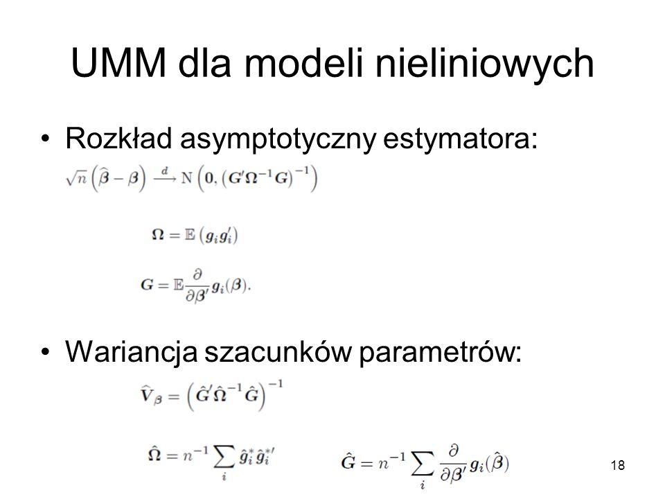 18 UMM dla modeli nieliniowych Rozkład asymptotyczny estymatora: Wariancja szacunków parametrów: