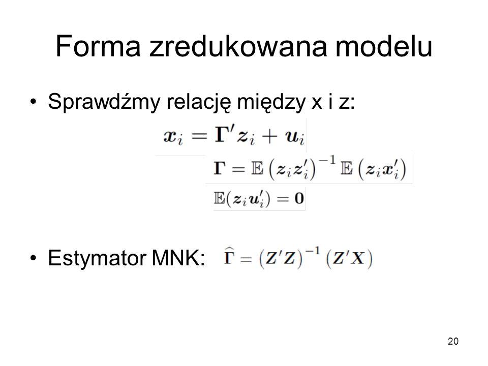 20 Forma zredukowana modelu Sprawdźmy relację między x i z: Estymator MNK: