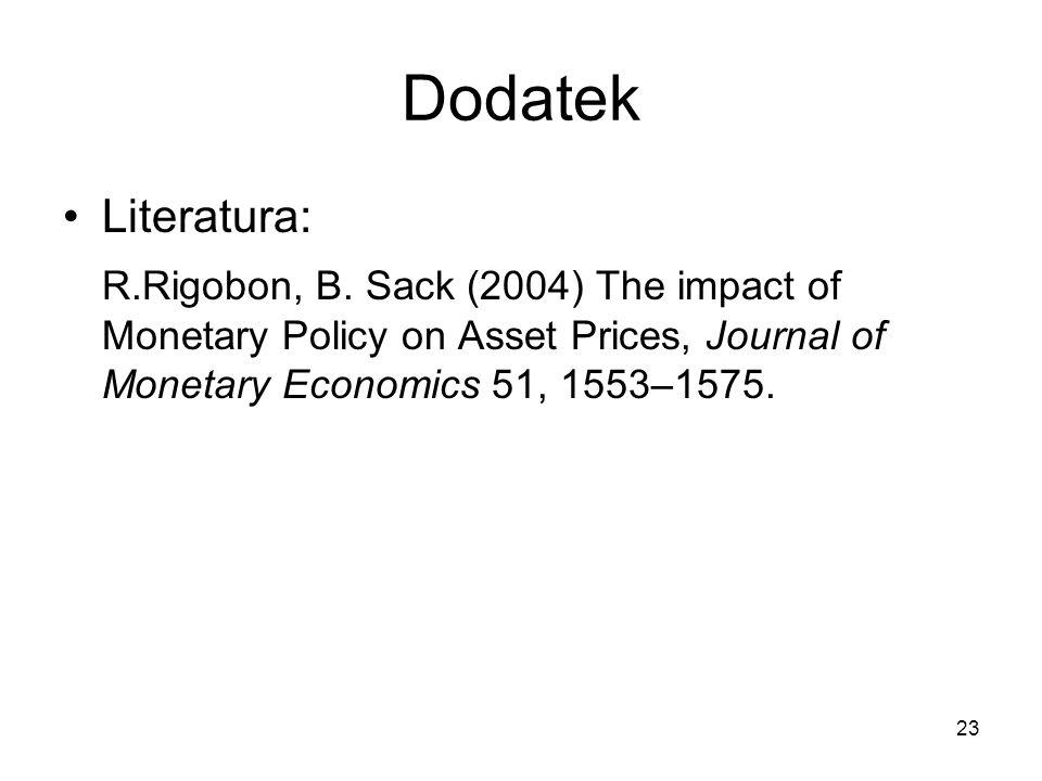 23 Dodatek Literatura: R.Rigobon, B. Sack (2004) The impact of Monetary Policy on Asset Prices, Journal of Monetary Economics 51, 1553–1575.