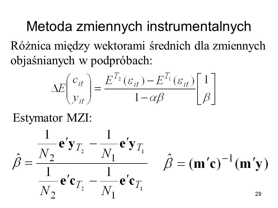 29 Metoda zmiennych instrumentalnych Różnica między wektorami średnich dla zmiennych objaśnianych w podpróbach: Estymator MZI: