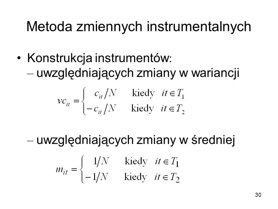 30 Metoda zmiennych instrumentalnych Konstrukcja instrumentów : – uwzględniających zmiany w wariancji – uwzględniających zmiany w średniej