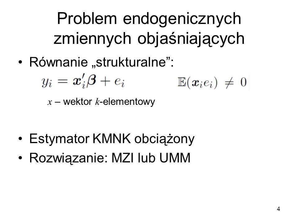 """4 Problem endogenicznych zmiennych objaśniających Równanie """"strukturalne"""": x – wektor k -elementowy Estymator KMNK obciążony Rozwiązanie: MZI lub UMM"""