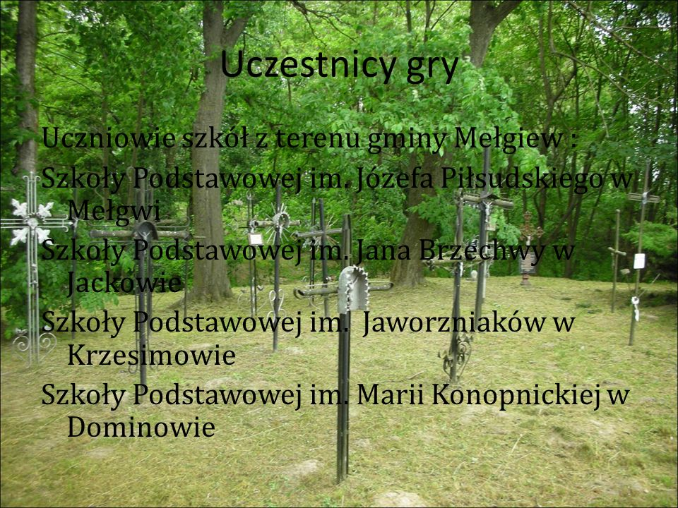 Uczestnicy gry Uczniowie szkół z terenu gminy Mełgiew : Szkoły Podstawowej im.