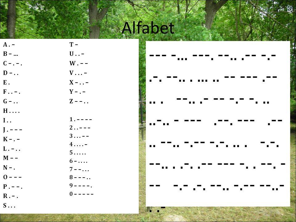 Alfabet A. – B –... C –. –. D –.. E. F.. –.