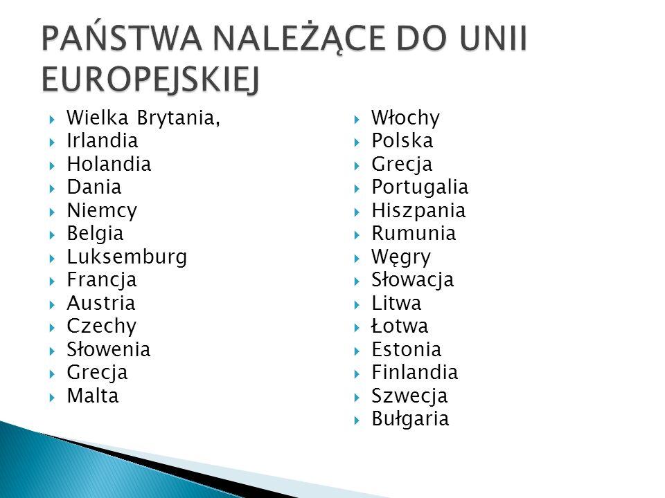  Wielka Brytania,  Irlandia  Holandia  Dania  Niemcy  Belgia  Luksemburg  Francja  Austria  Czechy  Słowenia  Grecja  Malta  Włochy  Polska  Grecja  Portugalia  Hiszpania  Rumunia  Węgry  Słowacja  Litwa  Łotwa  Estonia  Finlandia  Szwecja  Bułgaria