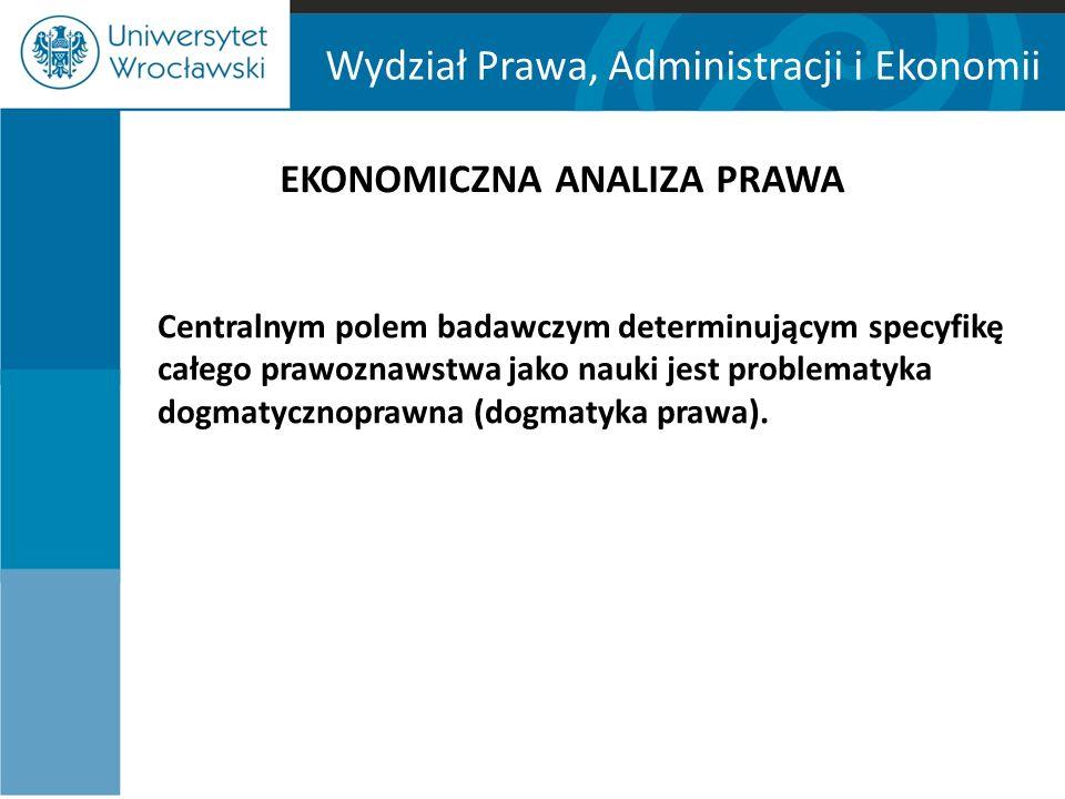 Wydział Prawa, Administracji i Ekonomii EKONOMICZNA ANALIZA PRAWA Centralnym polem badawczym determinującym specyfikę całego prawoznawstwa jako nauki jest problematyka dogmatycznoprawna (dogmatyka prawa).