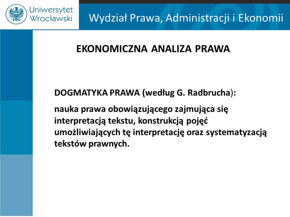 Wydział Prawa, Administracji i Ekonomii EKONOMICZNA ANALIZA PRAWA DOGMATYKA PRAWA (według G.