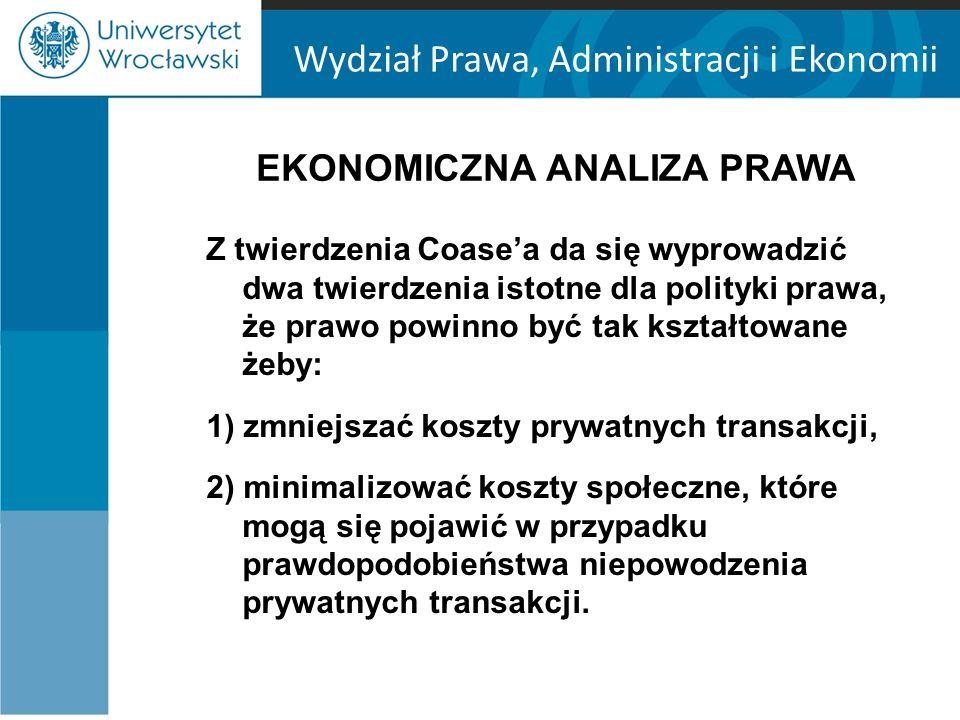 Wydział Prawa, Administracji i Ekonomii EKONOMICZNA ANALIZA PRAWA Z twierdzenia Coase'a da się wyprowadzić dwa twierdzenia istotne dla polityki prawa, że prawo powinno być tak kształtowane żeby: 1) zmniejszać koszty prywatnych transakcji, 2) minimalizować koszty społeczne, które mogą się pojawić w przypadku prawdopodobieństwa niepowodzenia prywatnych transakcji.