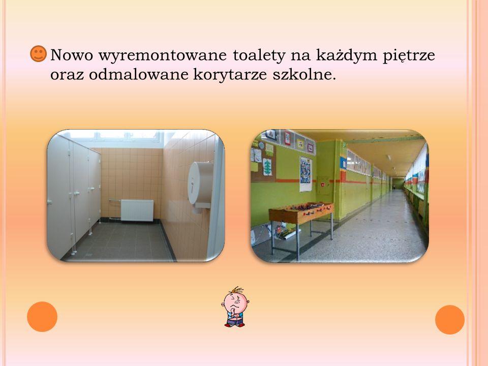 Nowo wyremontowane toalety na każdym piętrze oraz odmalowane korytarze szkolne.