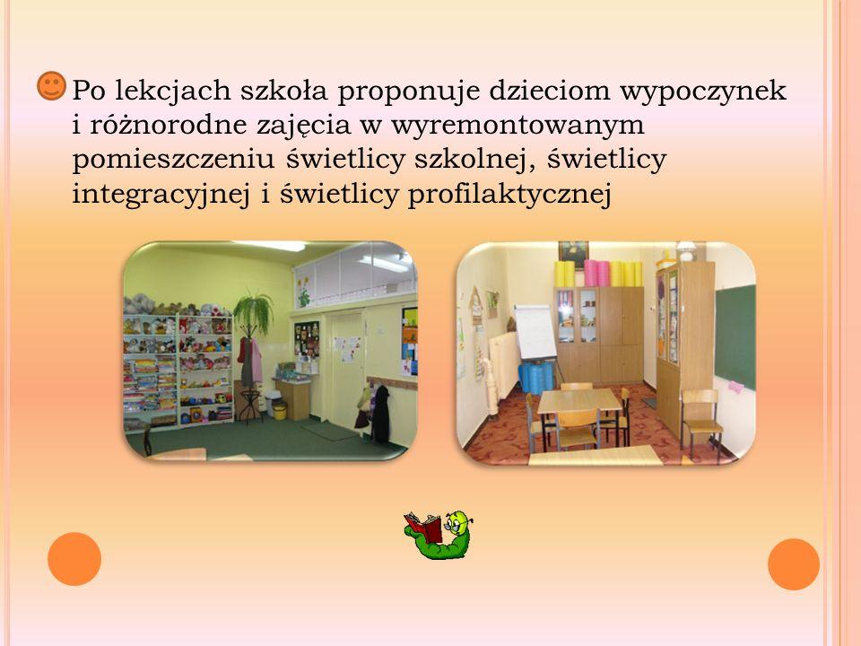 Po lekcjach szkoła proponuje dzieciom wypoczynek i różnorodne zajęcia w wyremontowanym pomieszczeniu świetlicy szkolnej, świetlicy integracyjnej i świetlicy profilaktycznej