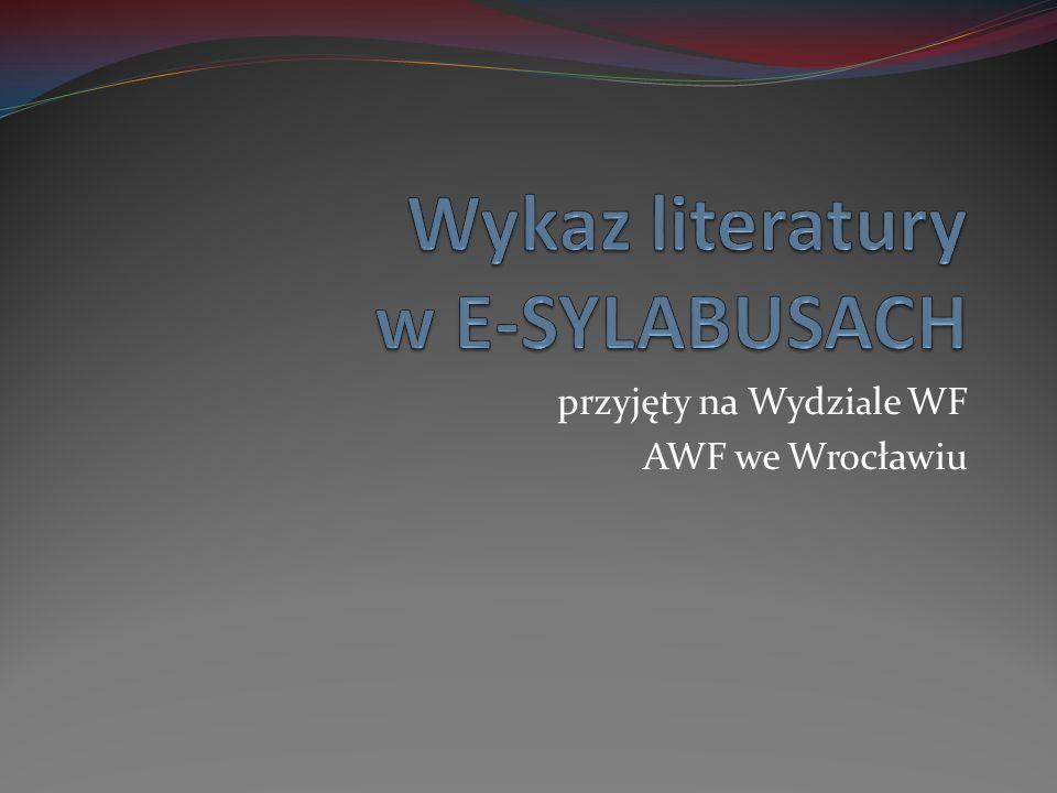 przyjęty na Wydzi a le WF AWF we Wrocławiu