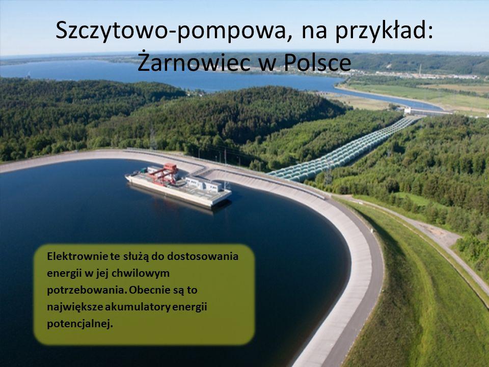 Szczytowo-pompowa, na przykład: Żarnowiec w Polsce Elektrownie te służą do dostosowania energii w jej chwilowym potrzebowania. Obecnie są to największ