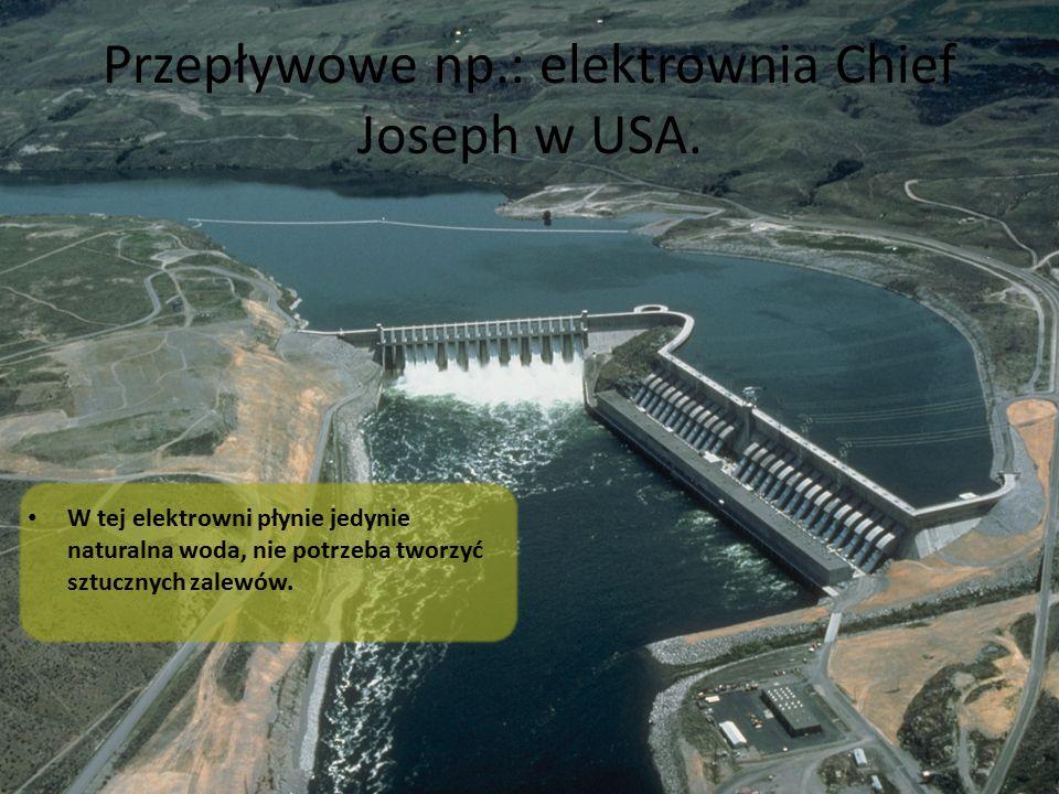 Przepływowe np.: elektrownia Chief Joseph w USA. W tej elektrowni płynie jedynie naturalna woda, nie potrzeba tworzyć sztucznych zalewów.