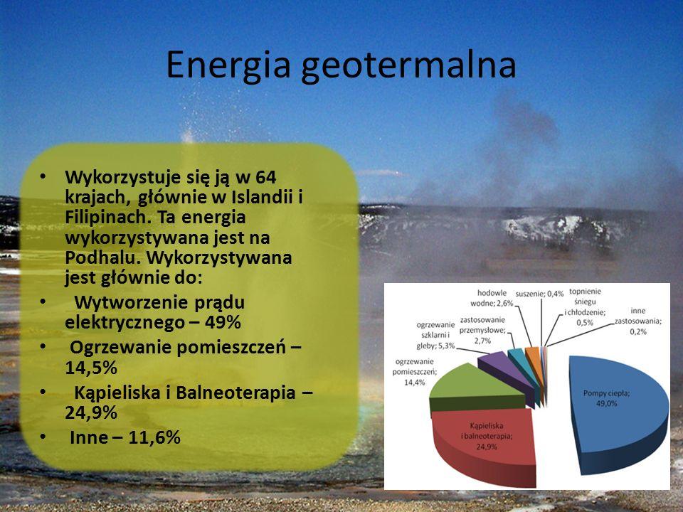 Energia geotermalna Wykorzystuje się ją w 64 krajach, głównie w Islandii i Filipinach. Ta energia wykorzystywana jest na Podhalu. Wykorzystywana jest