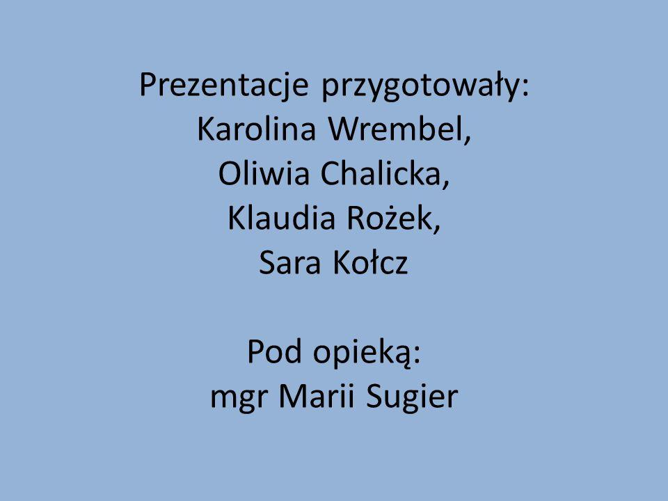 Prezentacje przygotowały: Karolina Wrembel, Oliwia Chalicka, Klaudia Rożek, Sara Kołcz Pod opieką: mgr Marii Sugier
