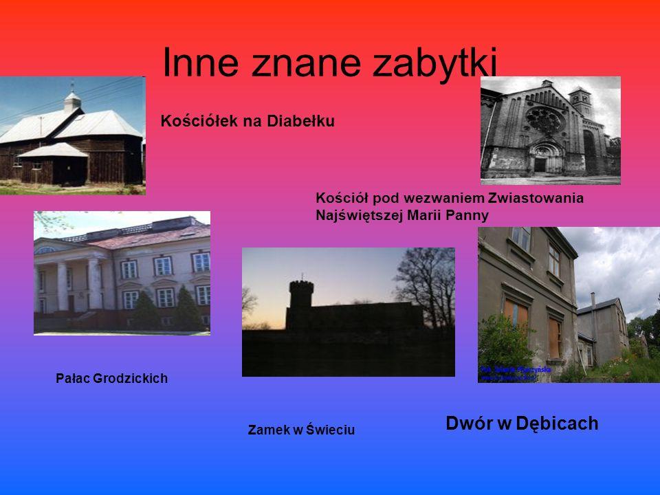 Inne znane zabytki Kościół pod wezwaniem Zwiastowania Najświętszej Marii Panny Kościółek na Diabełku Dwór w Dębicach Pałac Grodzickich Zamek w Świeciu