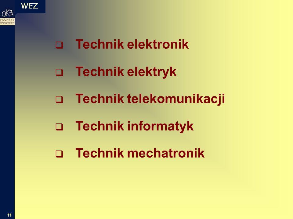 WEZ 11  Technik elektronik  Technik elektryk  Technik telekomunikacji  Technik informatyk  Technik mechatronik